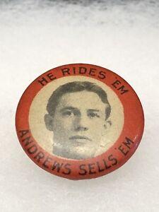 Antique 1890s 1900s Bicycle Stud Celluloid Button HE RIDES EM ANDREWS SELLS EM