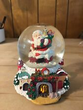 """The San Francisco Music Box Co. Santa Snow Globe""""Up on a House Top"""" Excellent!"""