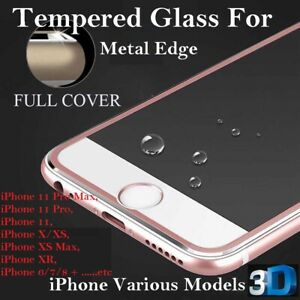 3D Curved Metal Edge for iPhone 6 7 8+ XR XS Max Tempered glass screen protector