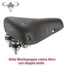 Sella Montegrappa in Pelle Nera doppia Molla per bici 20-24-26 tipo Graziella