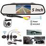 "5"" LCD Car Rear View Monitor Mirror Wireless Silver Backup Parking Assist Camera"