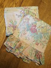 2 Ralph Lauren MAURA queen flat and fitted sheets floral on mauve pink