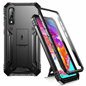 Poetic Shockproof For Galaxy A70 Case,Full Coverage Protective Stand Cover Black