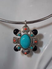 Maltese Cross Pendant Turquoise Blue Coral Black Plastic Bead Neck Wire Necklace