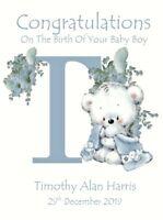 Prince Crown Personalised Handmade New Baby Boy Card Birth Congratulations