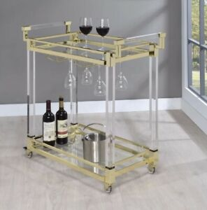 Brand New Acrylic And Gold Modern Bar Cart