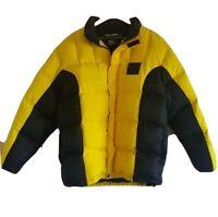 Vintage Polo Sport RALPH LAUREN TECHNICAL Yellow Down Puffer Coat Jacket Medium