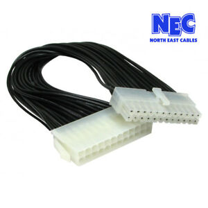 24 Pin Male to Female ATX Power Supply PSU Extension Cable Extender 24cm Length
