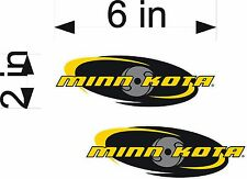 "MINN KOTA Oval / PAIR 6"" Fishing Logo Decals / Boat Bait / Sticker Set"