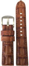 24mm XL Panatime Cognac Genuine Hornback Alligator Watch Strap with Match Stitch