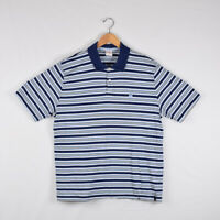 Men's Brooks Brothers Short Sleeve Polo Shirt Navy Blue White Stripes - Size XL