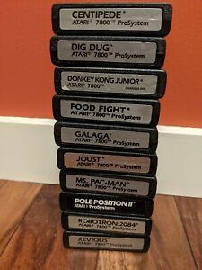 Lot of 10 Atari 7800 Games, Classic Arcade Carts ALL WORKING