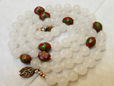 CHINESE VINTAGE TRANSLUCENT WHITE JADE CLOISONNE BEADS NECKLACE, SILVER CLASP