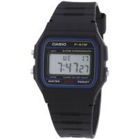 Genuine Casio F-91W-1YER  Casual Digital Watch with Black Resin Strap