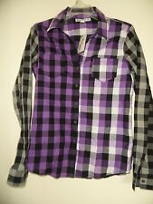 One Step Up Multi  Plaid Adjustable sleeve button down top   size L