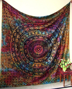 Indian Mandala Tapestry WallHanging Mandala Elephant Bed Throw Boho Cover