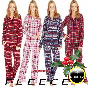 Ladies womens Fleece Warm Button Front up  opening pyjamas Bottom Pyjama set Pjs