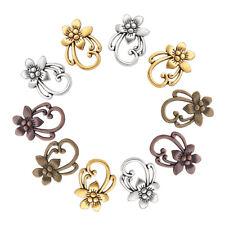 10 Sets Tibetan Alloy Flower Toggle Clasps Hook & Eye Closure Findings 28x20mm