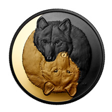 🇨🇦 New Canada Silver Rhodium & Gold Plated $20 Coin 1 Oz GREY WOLF, 2021
