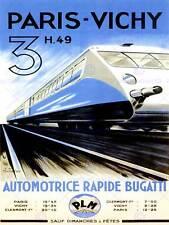 Paris vichy train rail vitesse moderne rapide france art print poster CC2186
