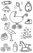 Mrs. Grossman's Giant Stickers - Pen & Ink Baby - Stork, Toys, Rattle - 2 Strips