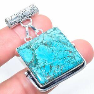 "Tibetan Turquoise Gemstone Handmade Silver Jewelry Pendant 2.0"" PLG2242"