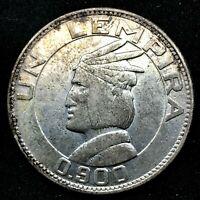 HONDURAS : 1932 LEMPIRA - 0.900 SILVER- TONED- RARE COIN - KM#75.