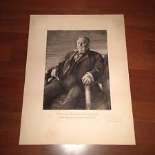William Howard Taft, LLD Etching (2 Rare Signatures) Albert Rosenthal, Appleton