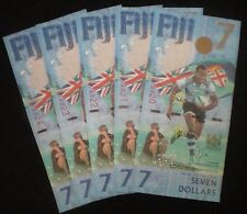 Fiji 2017 (FIVE) 5 Pieces - First Ever ODD VALUE $7 Seven Dollars Notes NEW UNC