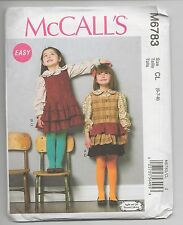 NEW MCCALLS 6783 GIRLS BLOUSE TOPS & JUMPERS PATTERN 6-7-8 GREAT 4 SCHOOL UNCUT