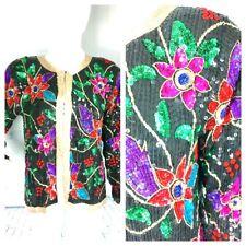 VTG JEAN for JOSEPH LE BON SILK Multi Color Beaded Sequined Jacket Medium