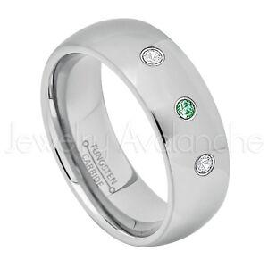 0.21ctw Emerald & Diamond 3-Stone Ring, May Birthstone Ring, Tungsten Ring #013B