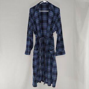 Lands End Robe Mens Large Blue Cotton Flannel Long Sleeve Belt Pockets