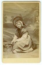 HOLLAND CDV: Dutch Peasant Girl Wearing Bonnet with Basket Carte de Visite