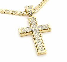 "Mens 14k Gold Plated Jagged Edged Cross Hip-Hop Pendant 30"" 8mm Cuban Chain"