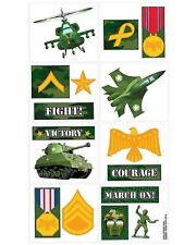 Camouflage Military Army Greens Party Supplies Temporary Tattoo Favours 16pk