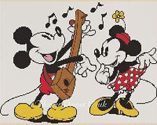 Disney Cross Stitch Chart-Vintage Mickey Mouse & Minnie Flowerpower 37-uk