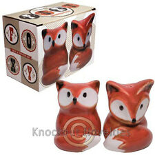 Foxy Salt Pepper Set Ceramic Shakers Shake Dinning Table Tabletop Fox Orage