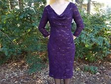 Formal evening 3/4 sleeve beaded floral dark purple lace dress Lauren Ralph,s.6