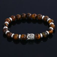 Buddha Totenkopf Armband Lava Natur Stein Türkis Schwarz Braun Damen Herren