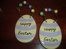 EASTER HANGING TAGS  SILVESTRI PORCELAIN  WITH BEADS  SET OF TWO (2)