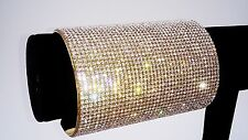 "Cuff Bracelet Clear crystal 4""wide gold tone Red carpet Pageant Drag Queen Prom"