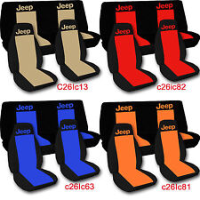 1997-2002 Jeep Wrangler Seat Covers / Two Tone w DESIGN Front & Rear /Pick Color