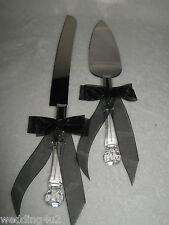 Wedding Reception Party Gothic Cake Knife & Server Black Bow & Ribbon