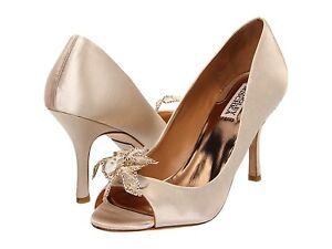NIB Badgley Mischka Regine wedding bridal open toe pump heel satin shoes Cream 6