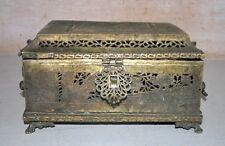 Antique Old North Indian Brass Hand Carved Betel Nut Box Pan Dan Primitive Box