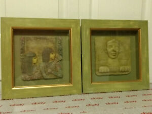 """ART ~ PAIR SHADOW BOX EGYPTIAN STONE FIGURINE  8 3/4"""" SQUARE FRAMED 12"""" OVERALL"""