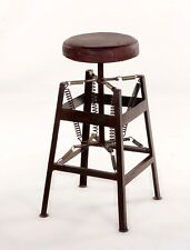 Marg Spring Industrial Leather Top Stool