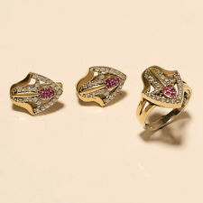 Natural Ruby White Topaz Ring Earrings 925 Sterling Silver Two Tone Jewelry Gift