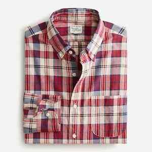 J.Crew Men's Indian Madras Plaid Long Sleeve Shirt Large NEW